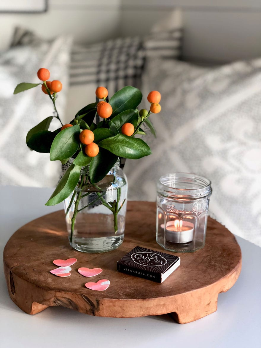 It's the little things like a votive candle in a glass jam jar and a mustard jar with a clipping from a miniature orange tree that makes me happy!