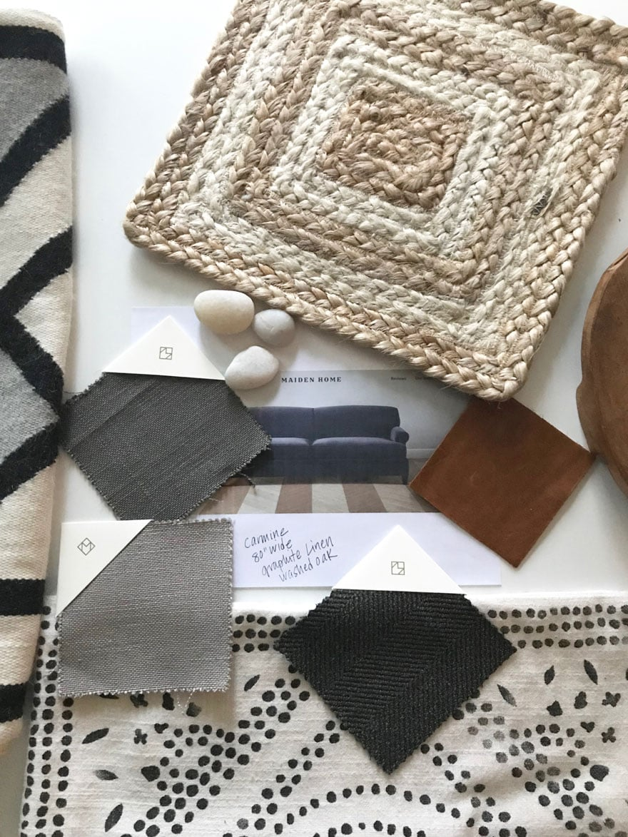 We started with a mood board before choosing our Maiden Home sofa