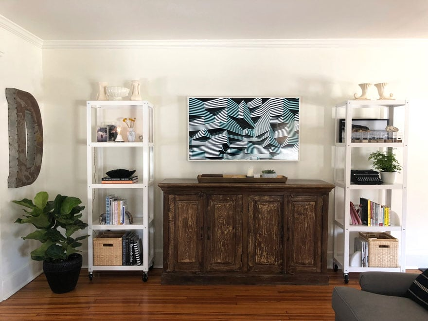 book shelves, The Frame TV