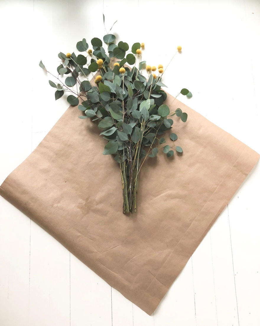 kraft paper and flowers