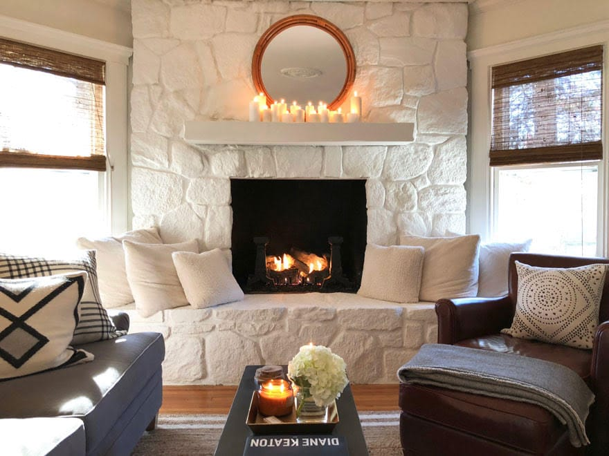 painted stone fireplace