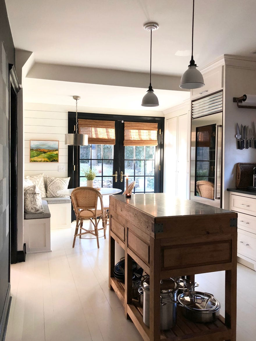 Freestanding kitchen island, painted floors, eat-in-kitchen