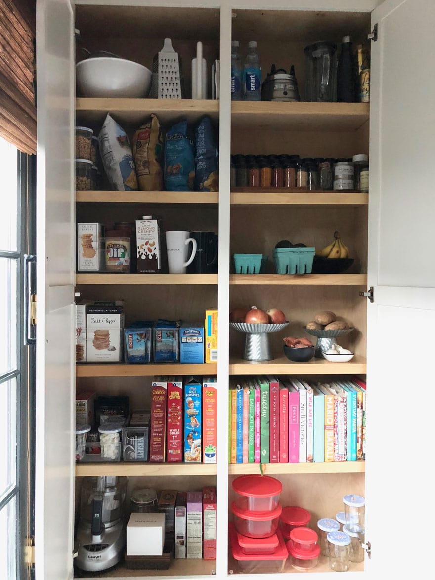 kitchen pantry, food storage, cook books