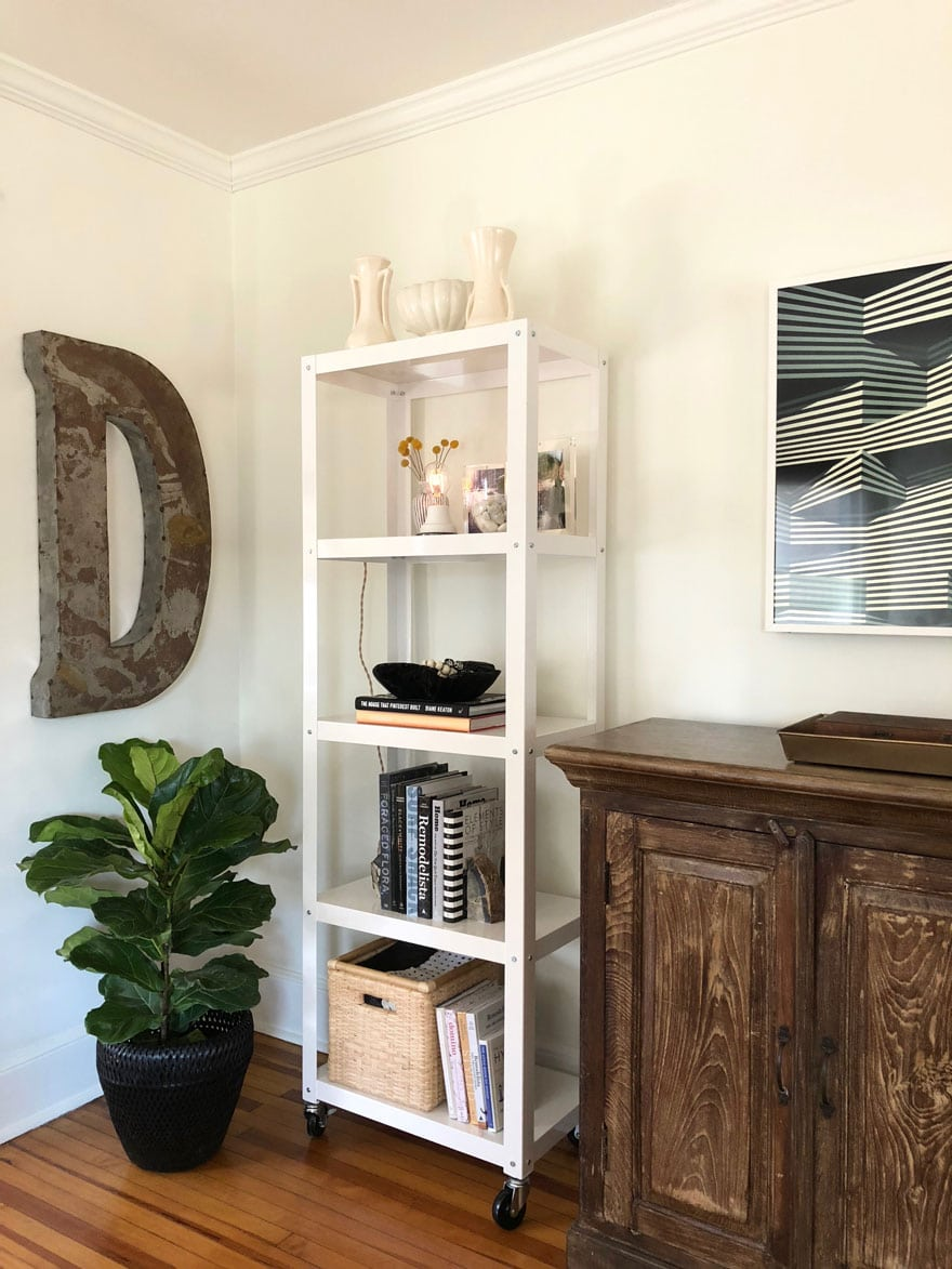 book shelves, fig plant, The Frame TV