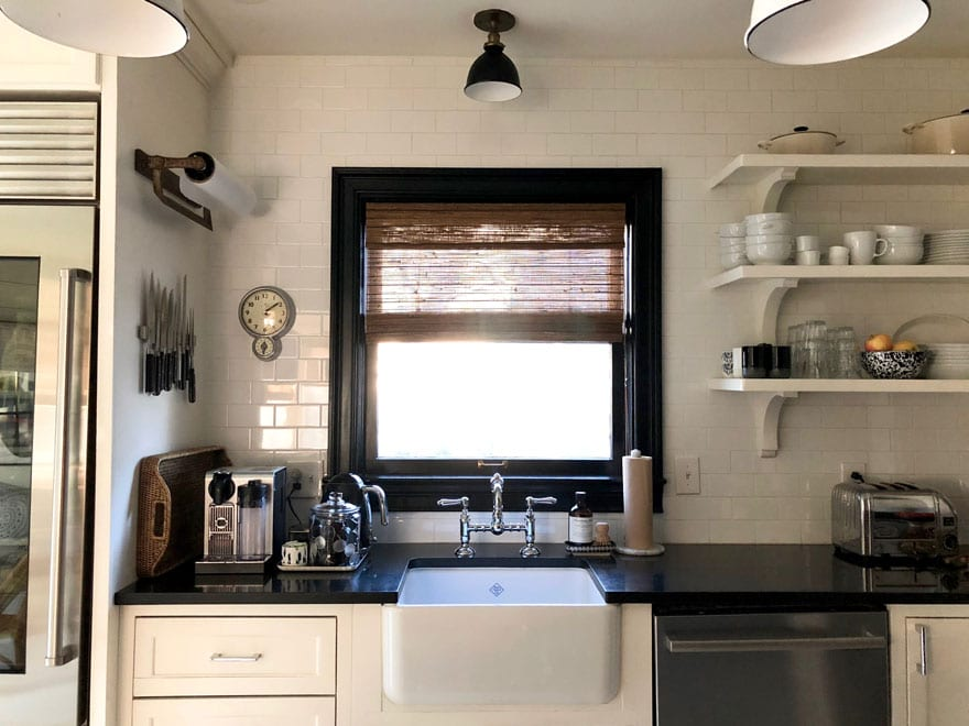 Open shelving and farm sink