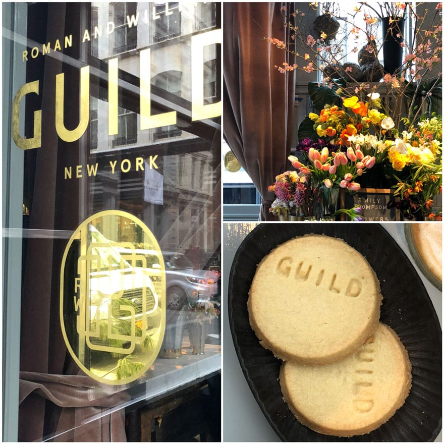 gold letter sign, Emily Thompson's flowers and Guild Short Bread cookies at Roman and Williams Guild