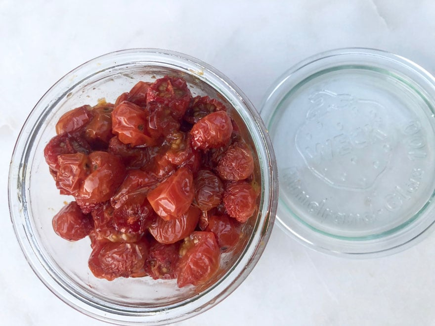 glass jar of roasted cherry tomatoes