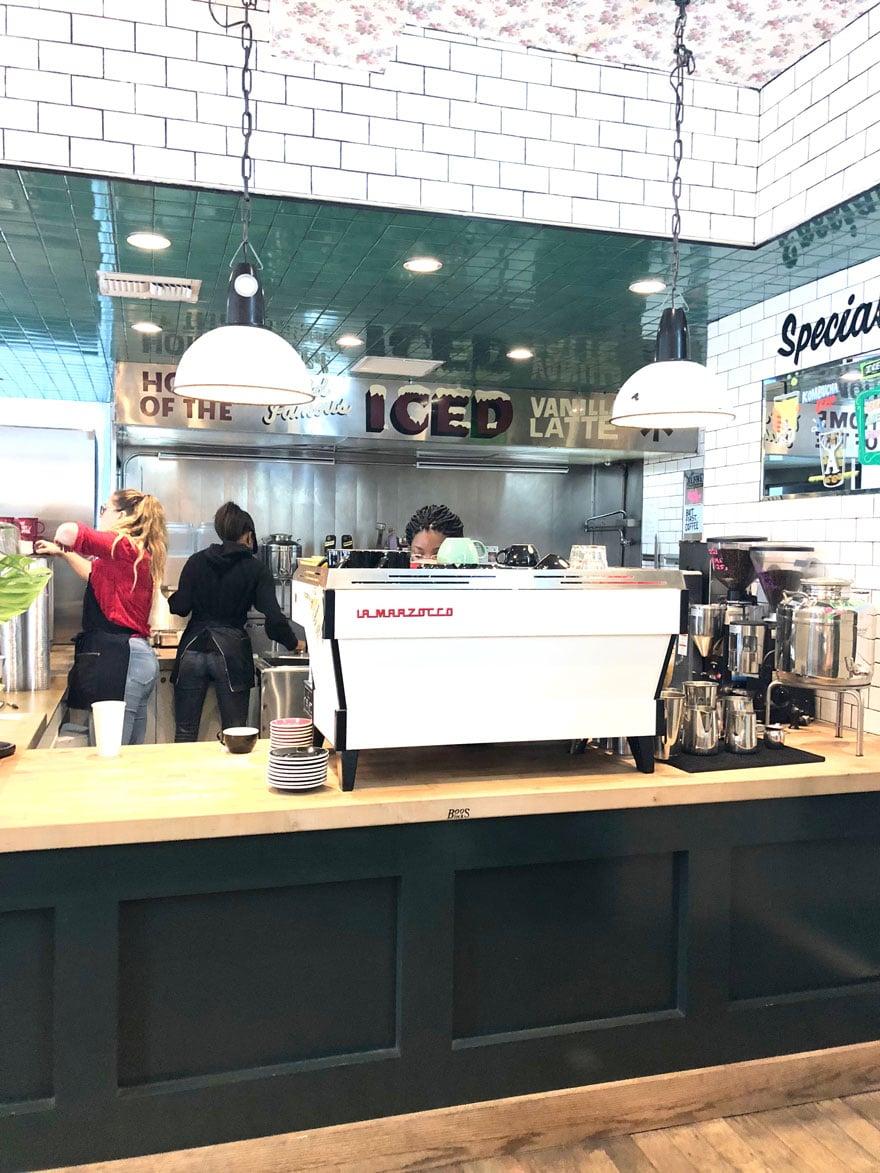 white espresso machine in coffee shop