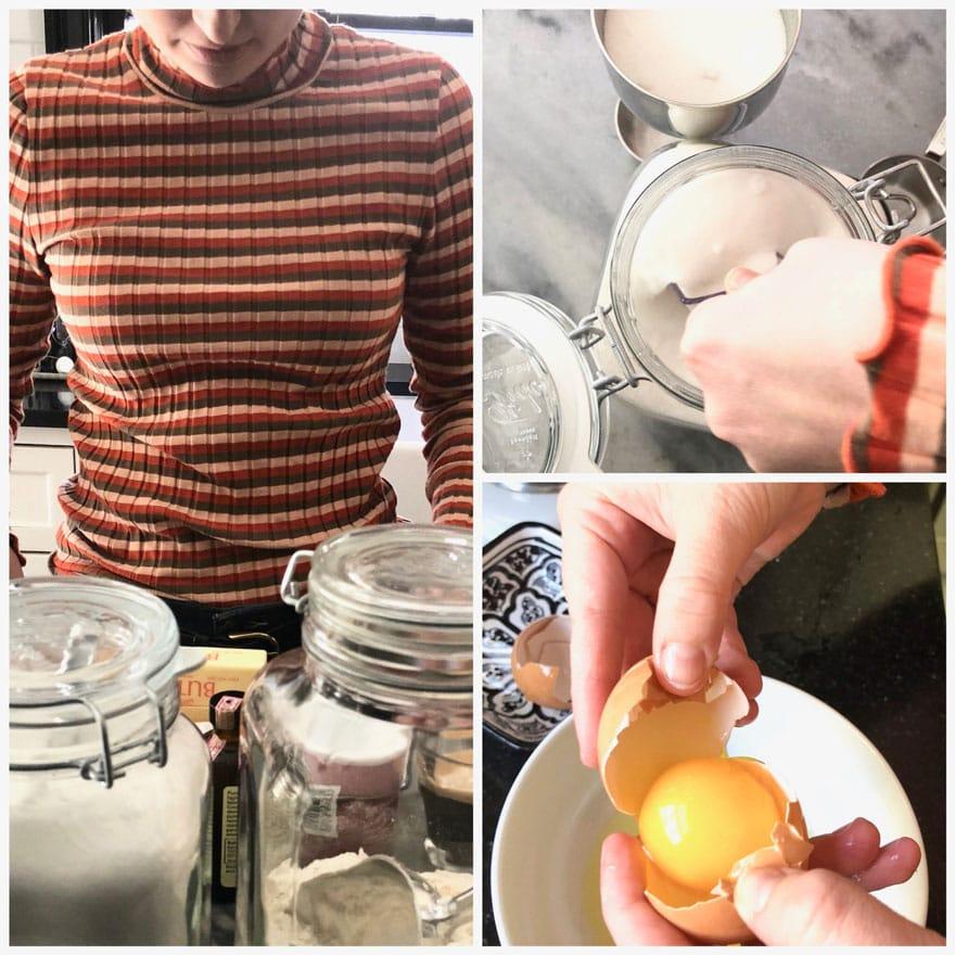 girl in stripe shirt with baking ingredients