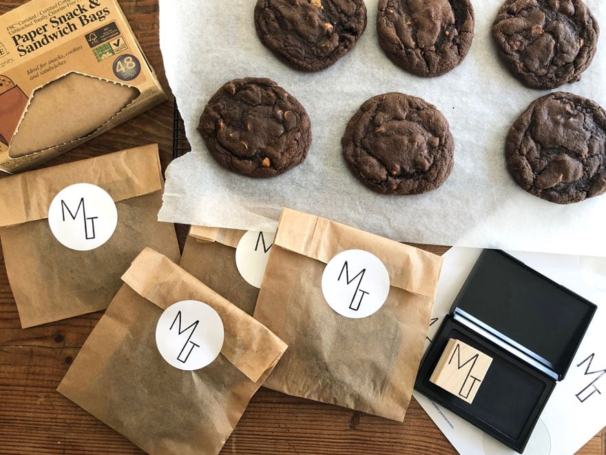 cookies, bags, stickers