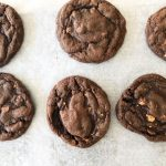 dark chocolate cookie on parchment paper