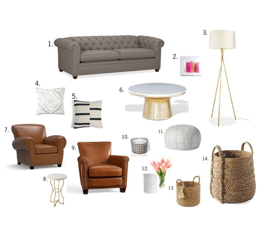 sofa, chairs, pillows design board