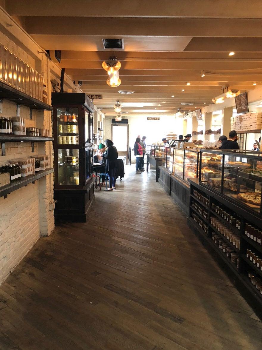 inside of shop, old wood floors
