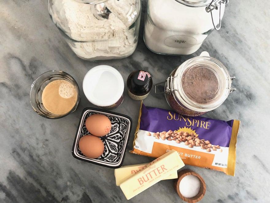 baking ingredients on marble