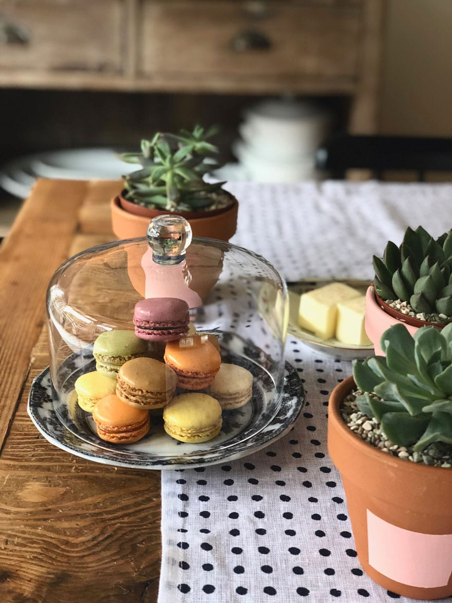 macarons on plate with glass dome