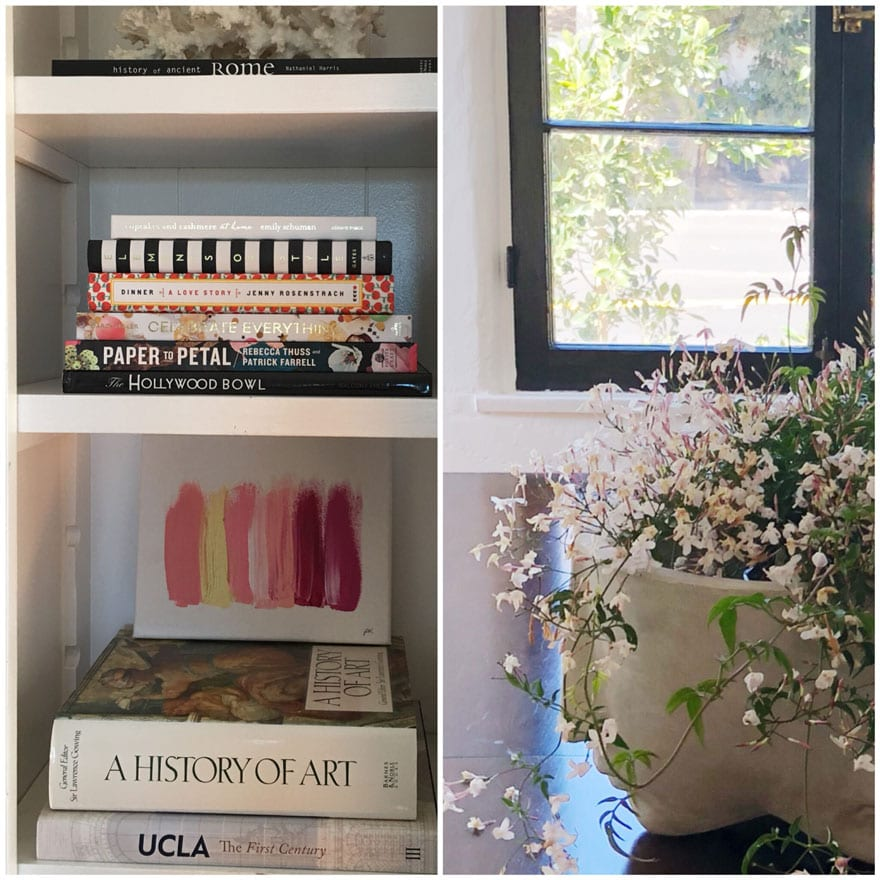 book, painting, planter