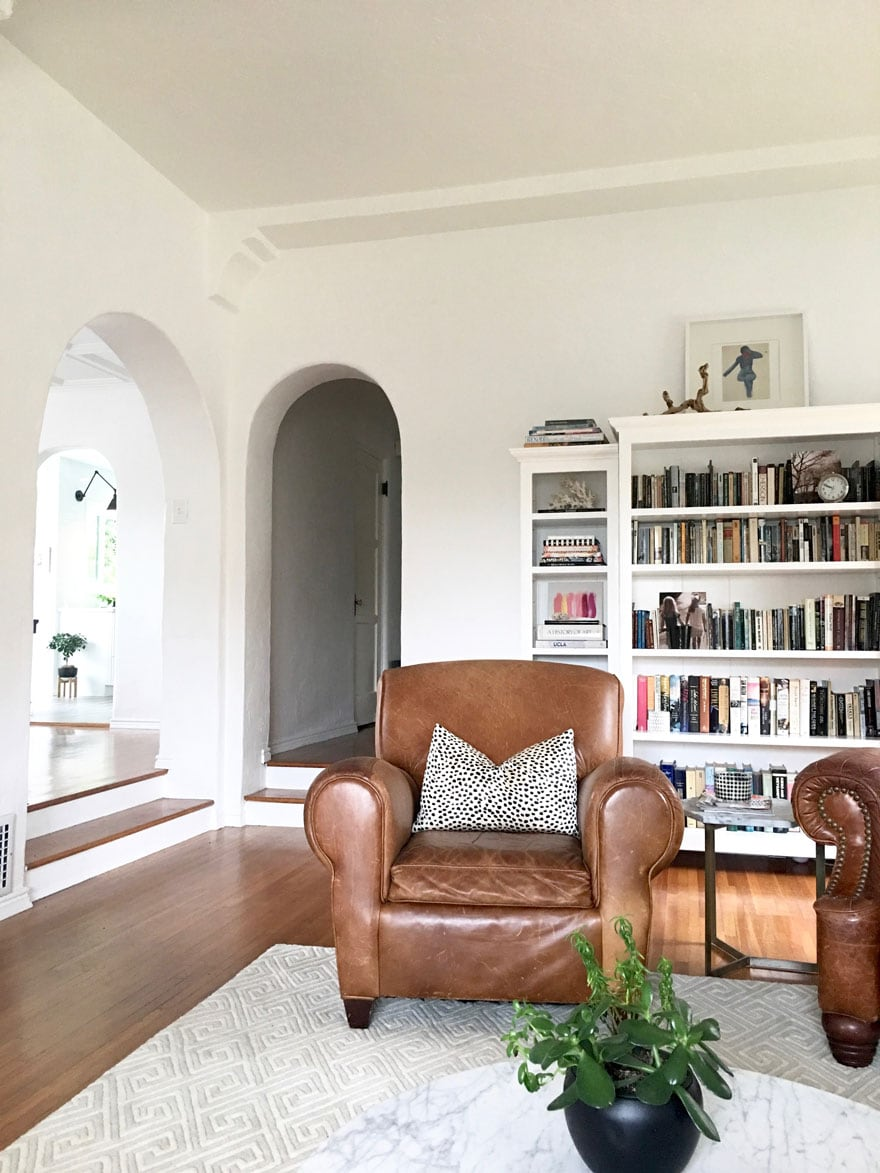 leather chair, built-in bookcases