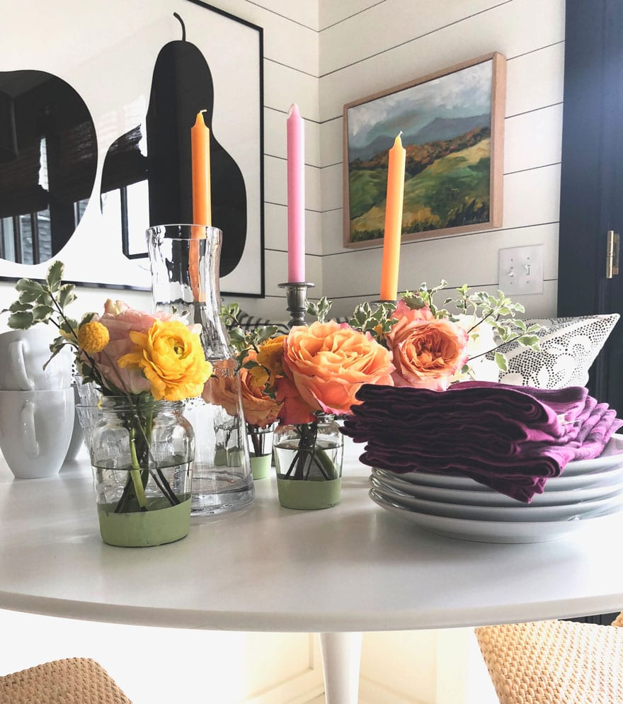 flowers, jars, candles, tabletop