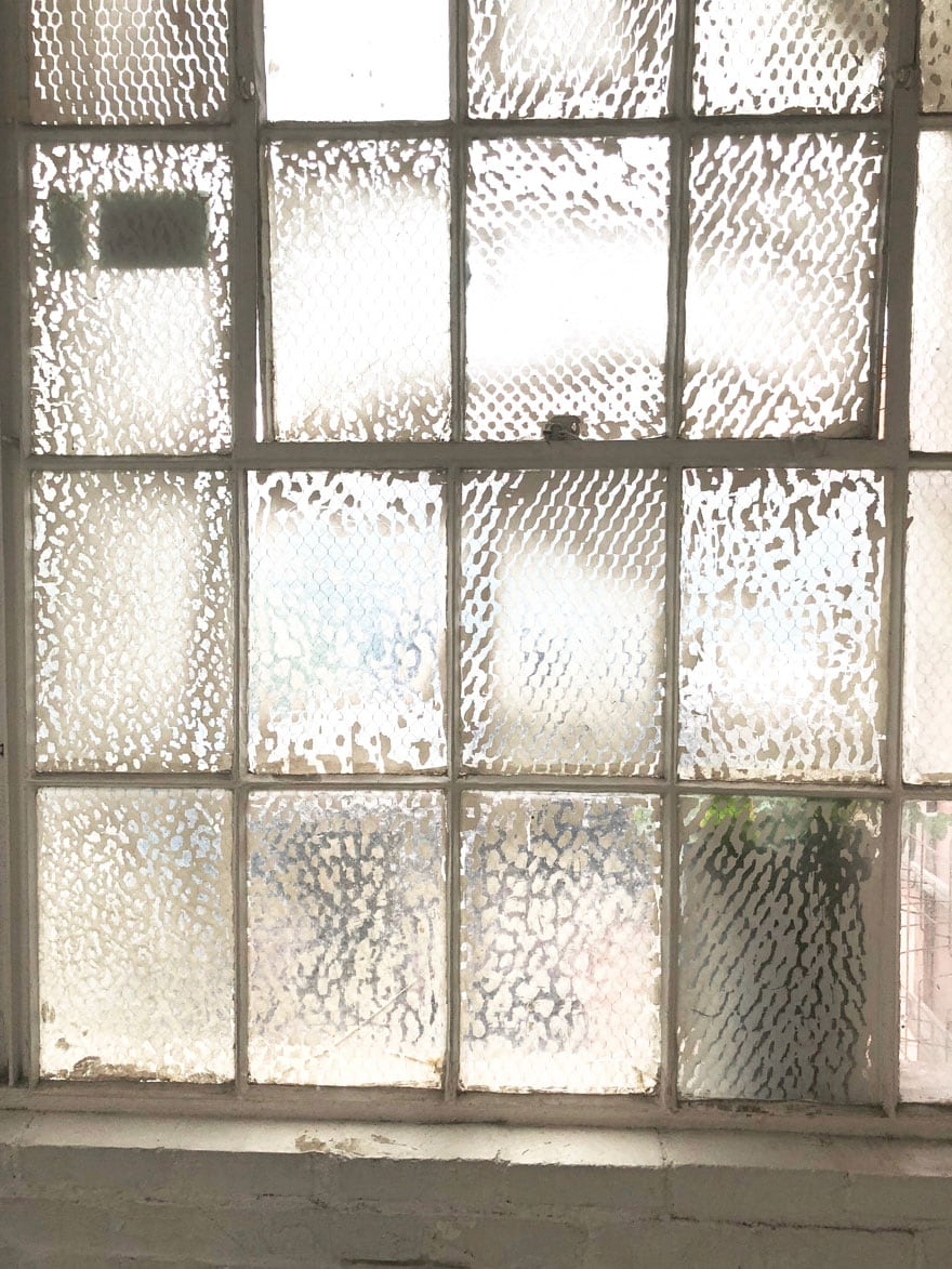 old privacy glass wall