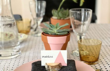 Simple DIY Painted Pots with Succulents and an Easter Table & Menu