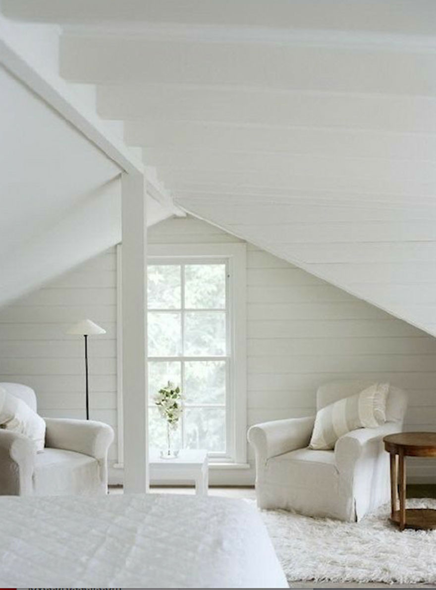 attic space with pair of white chairs