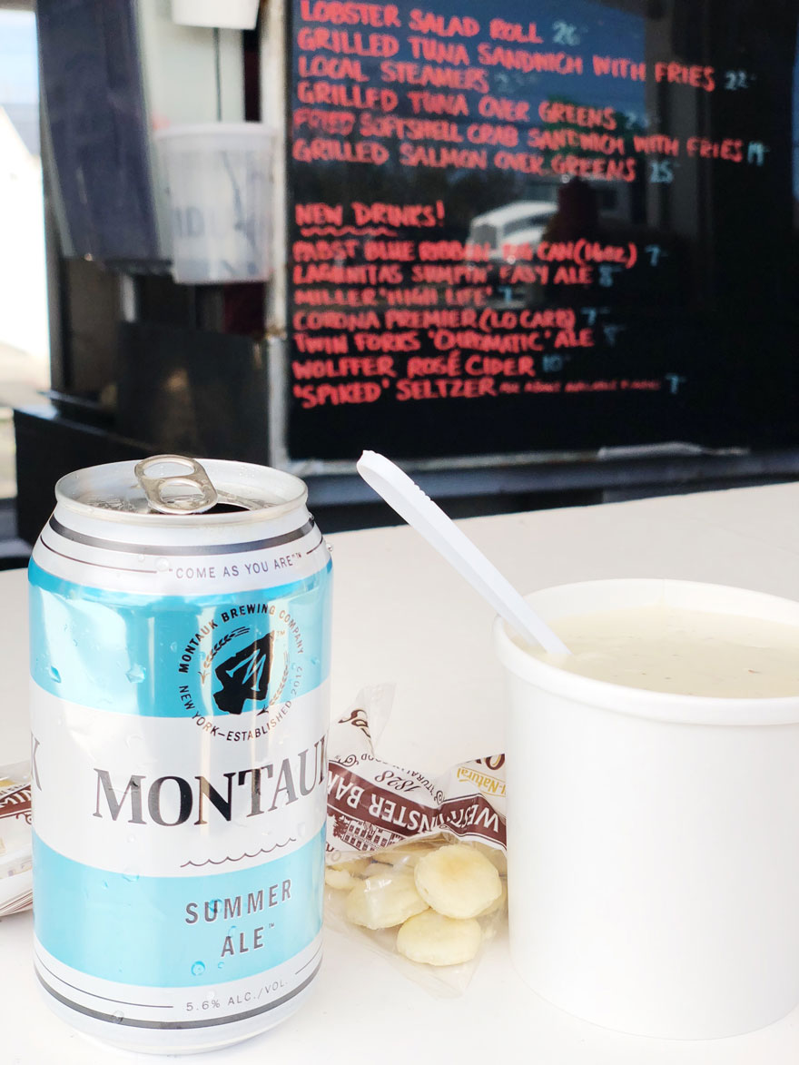 Montauk Summer Ale Beer can and cup of chowder at roadside Clam Bar
