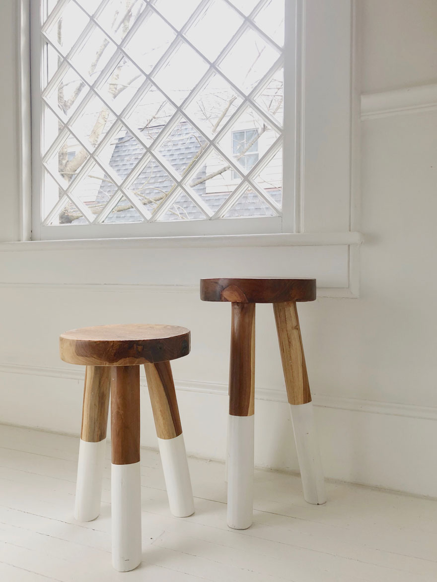 stools in stair landing with window