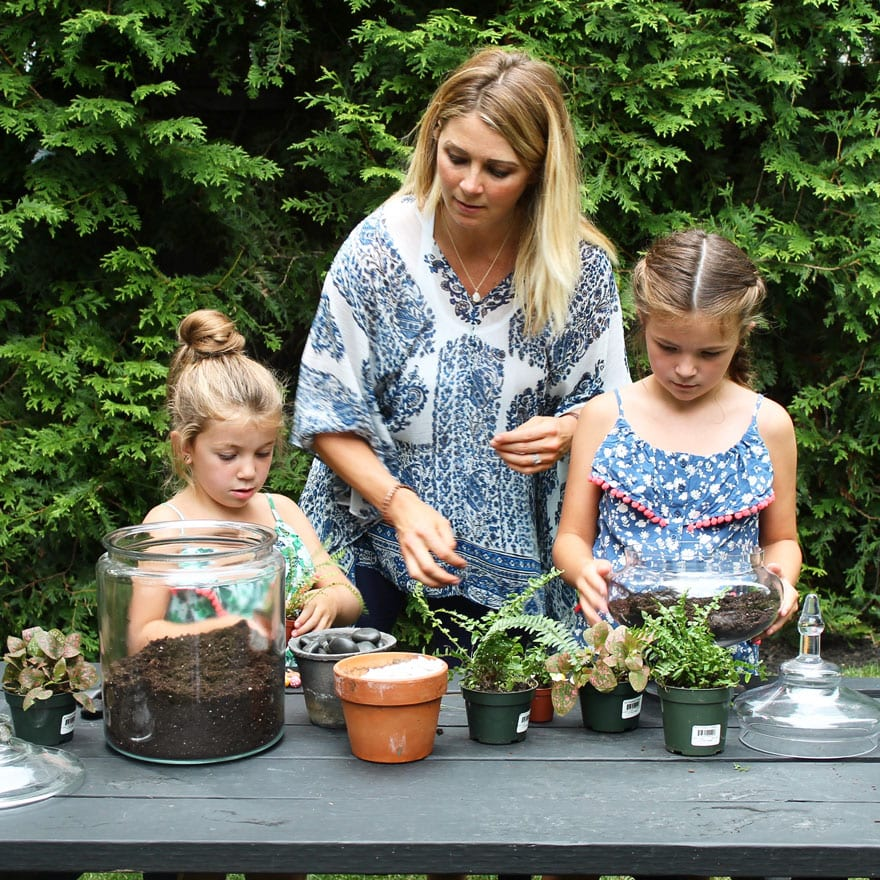 mom, daughters, plants