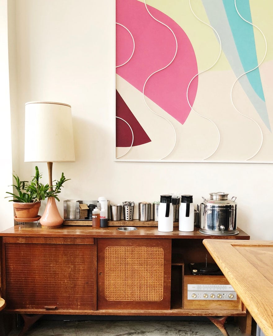 midcentury credenza and lamp