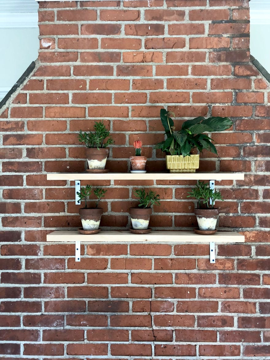 small planters on brick wall