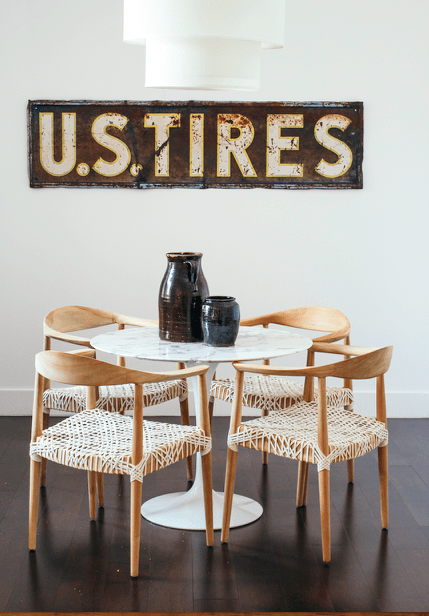 table chairs, vintage sign