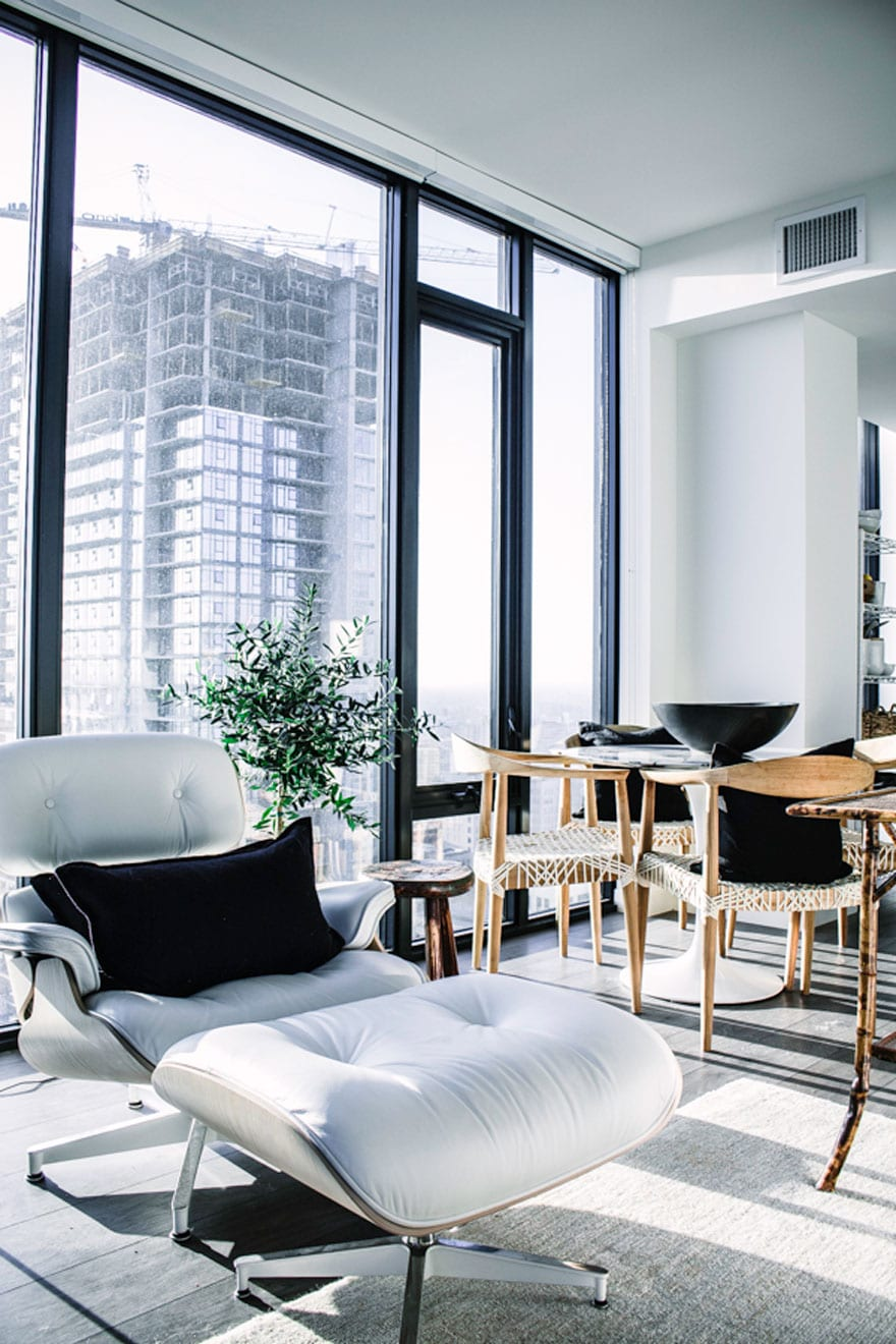 modern chair, view from high rise window