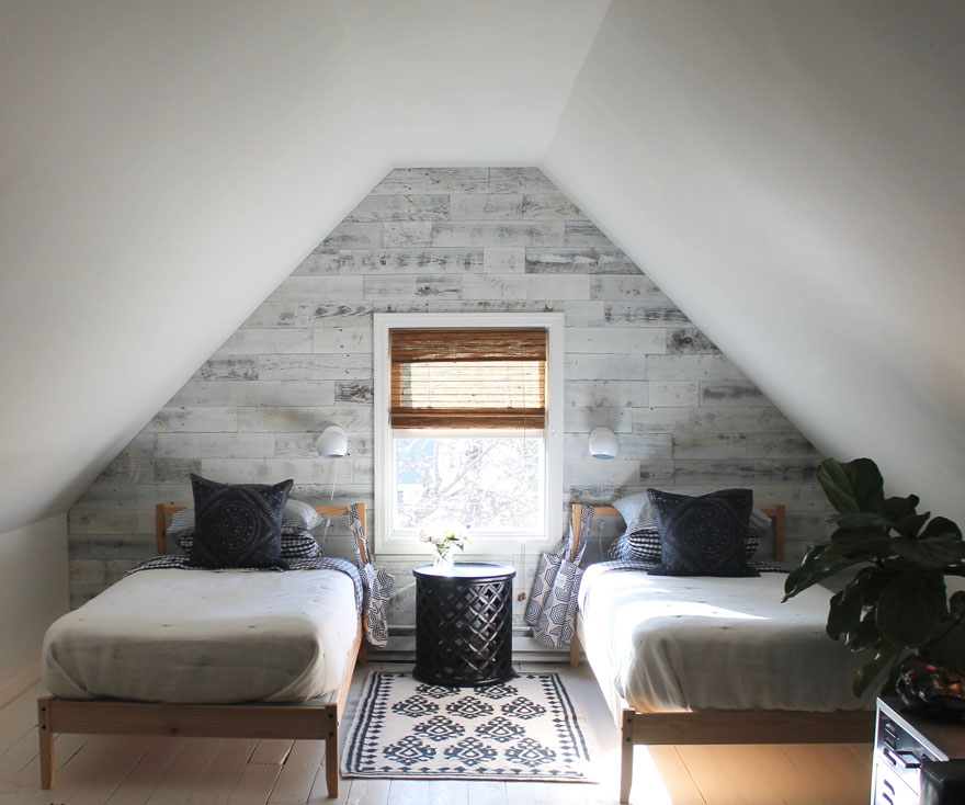twin beds, attic space window