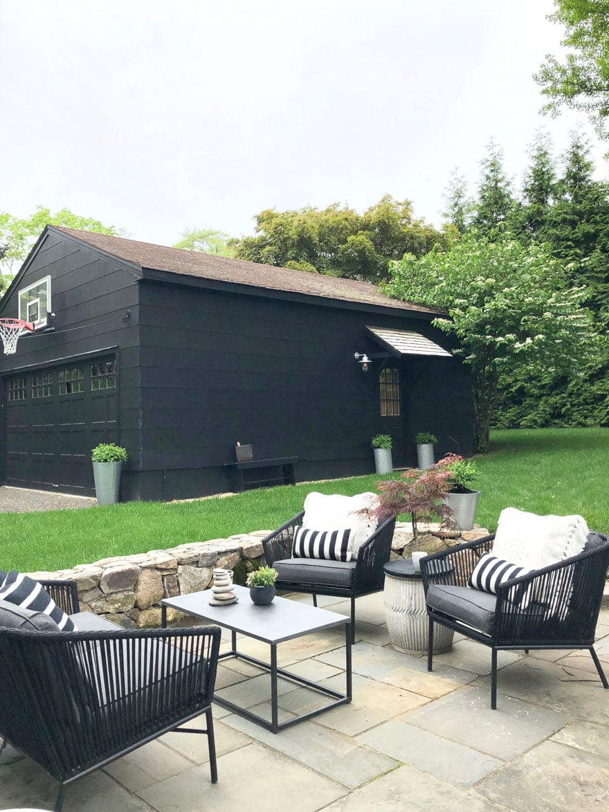 black garage and patio