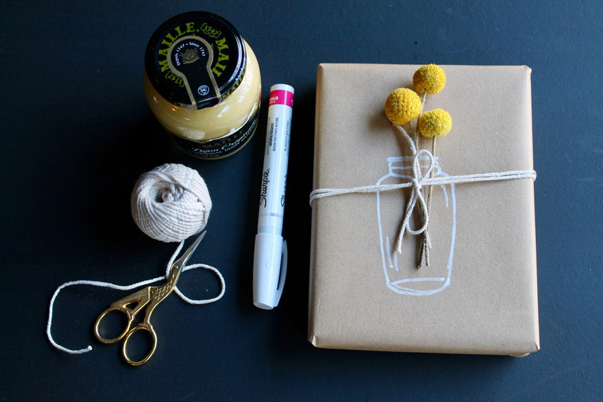 jar of mustard, gift with billy balls, twine, sharpie, small scissors