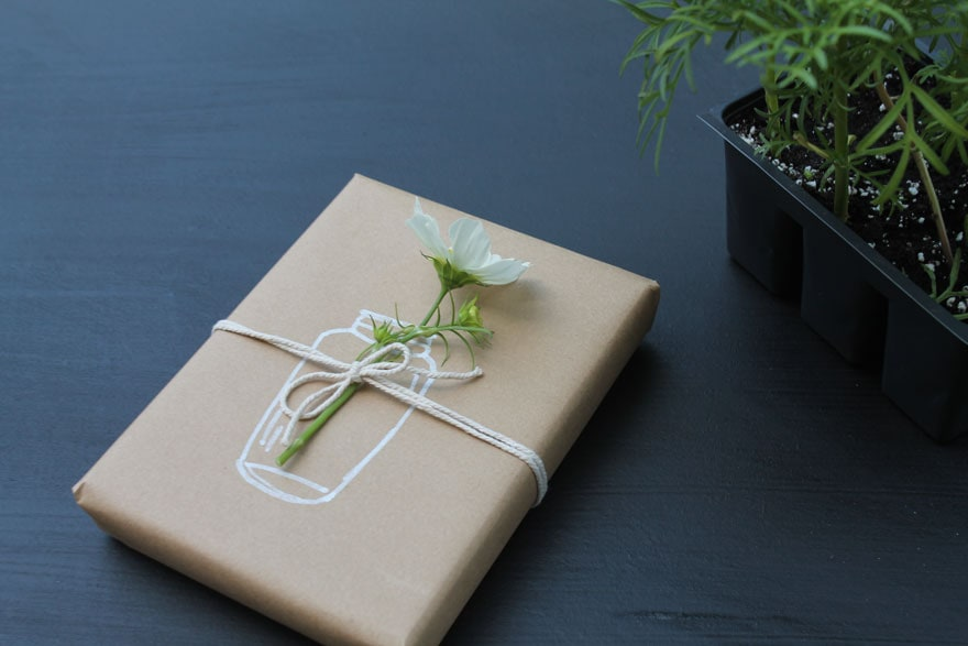 gift with flower and twine