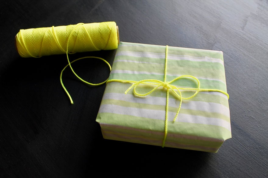 gift wrapped with neon twine