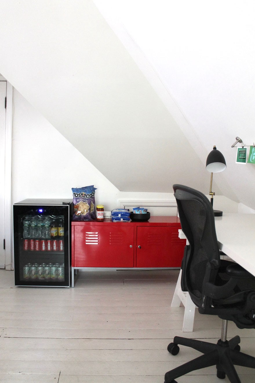mini refrigerator, red locker cabinet