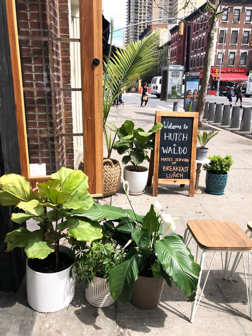 plants, sign on sidewalk for cafe in NYC