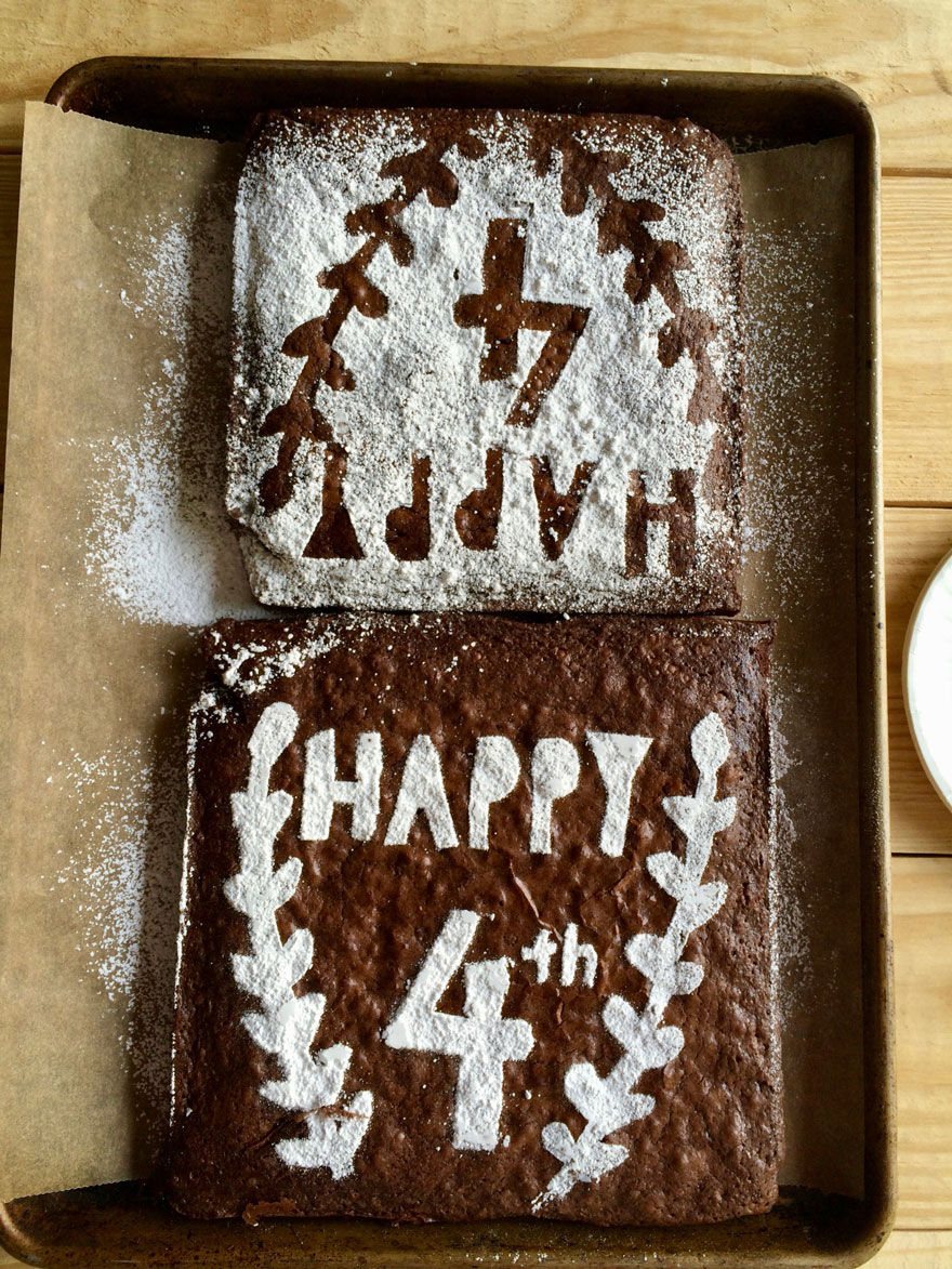 brownies with stencil for 4th of july