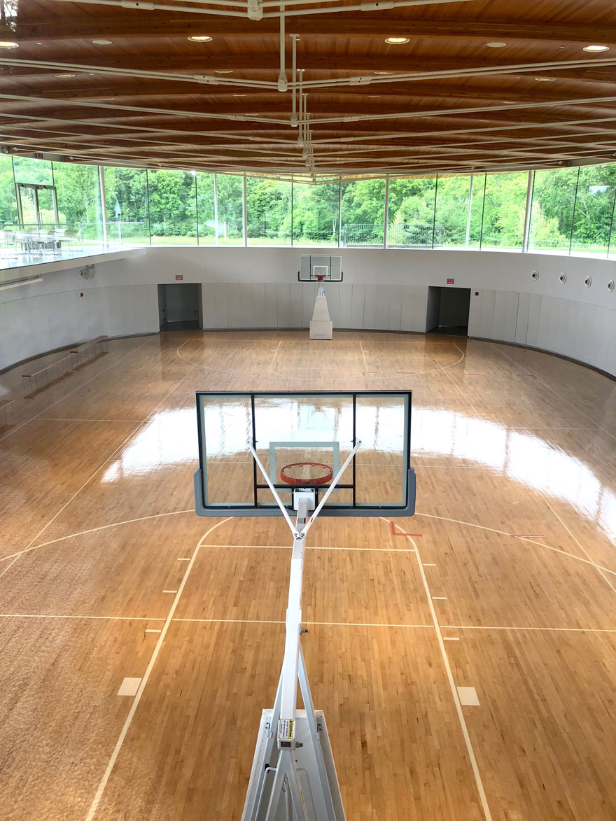 basketball court with tree view