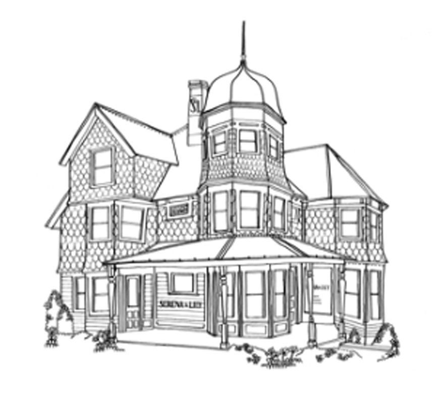 line drawing of a queen anne house