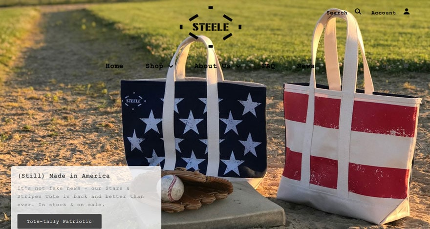 red white and blue totes