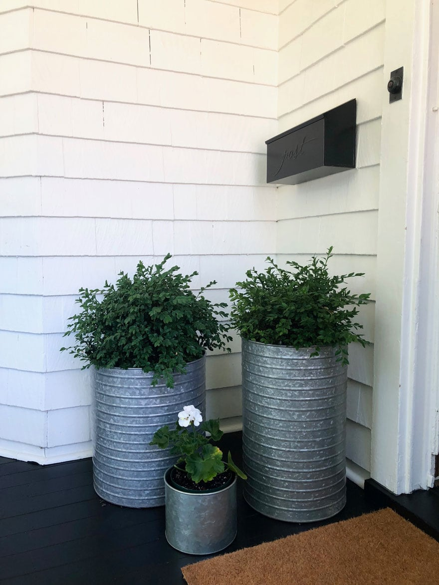 planters on porch with boxwoods