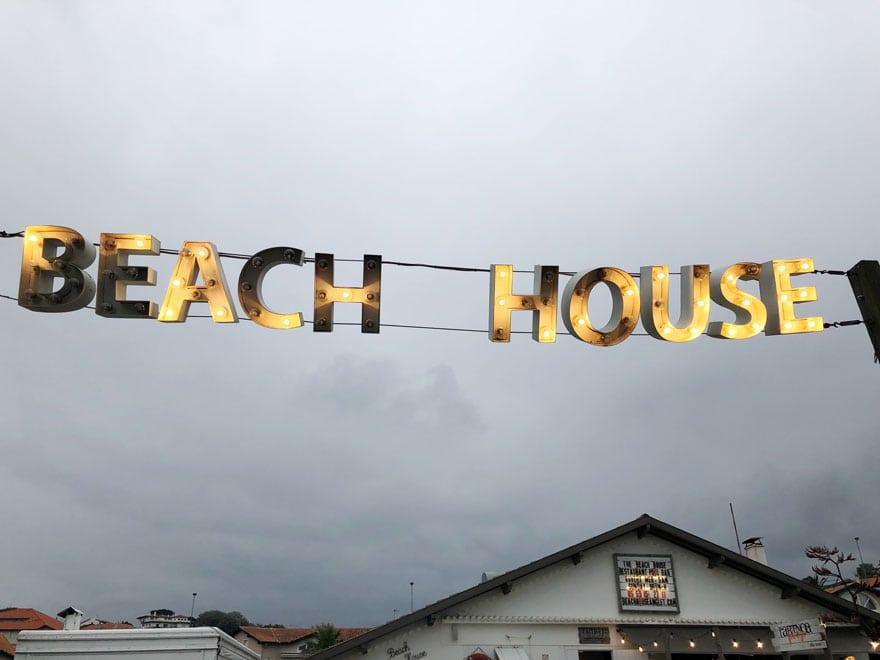 beach house in lights