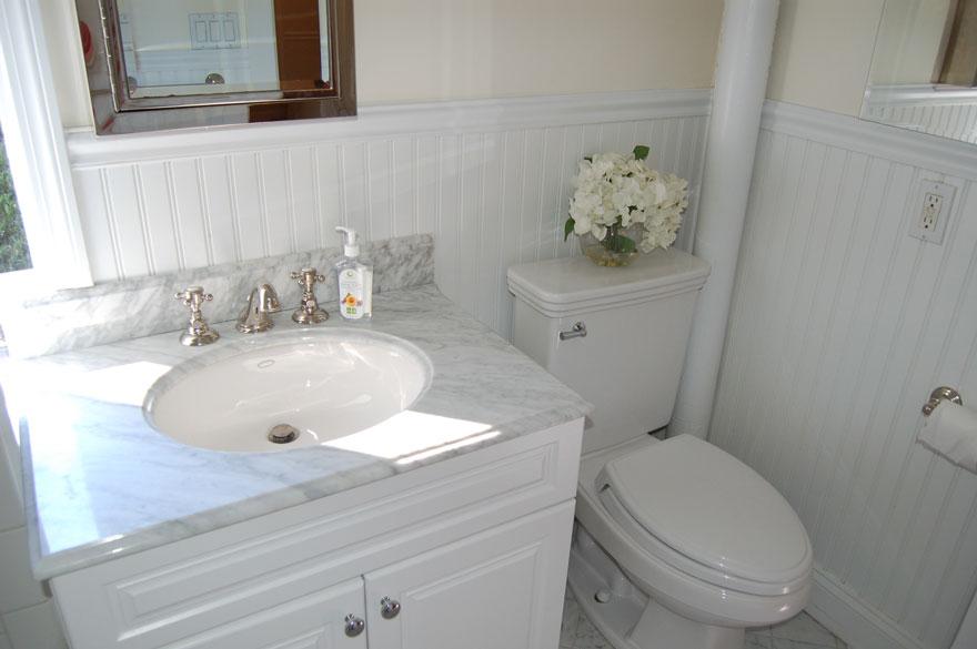 bathroom vanity and toilet