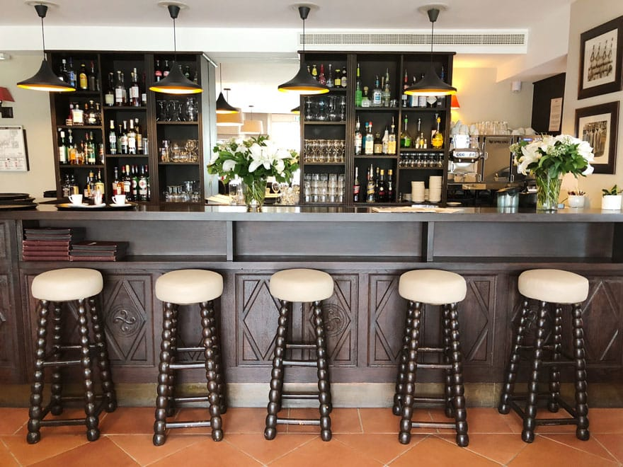 hotel bar with stools