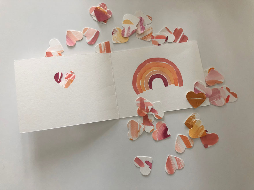 rainbow and hearts from watercolors