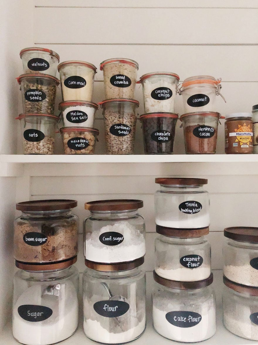 pantry jars on shelves