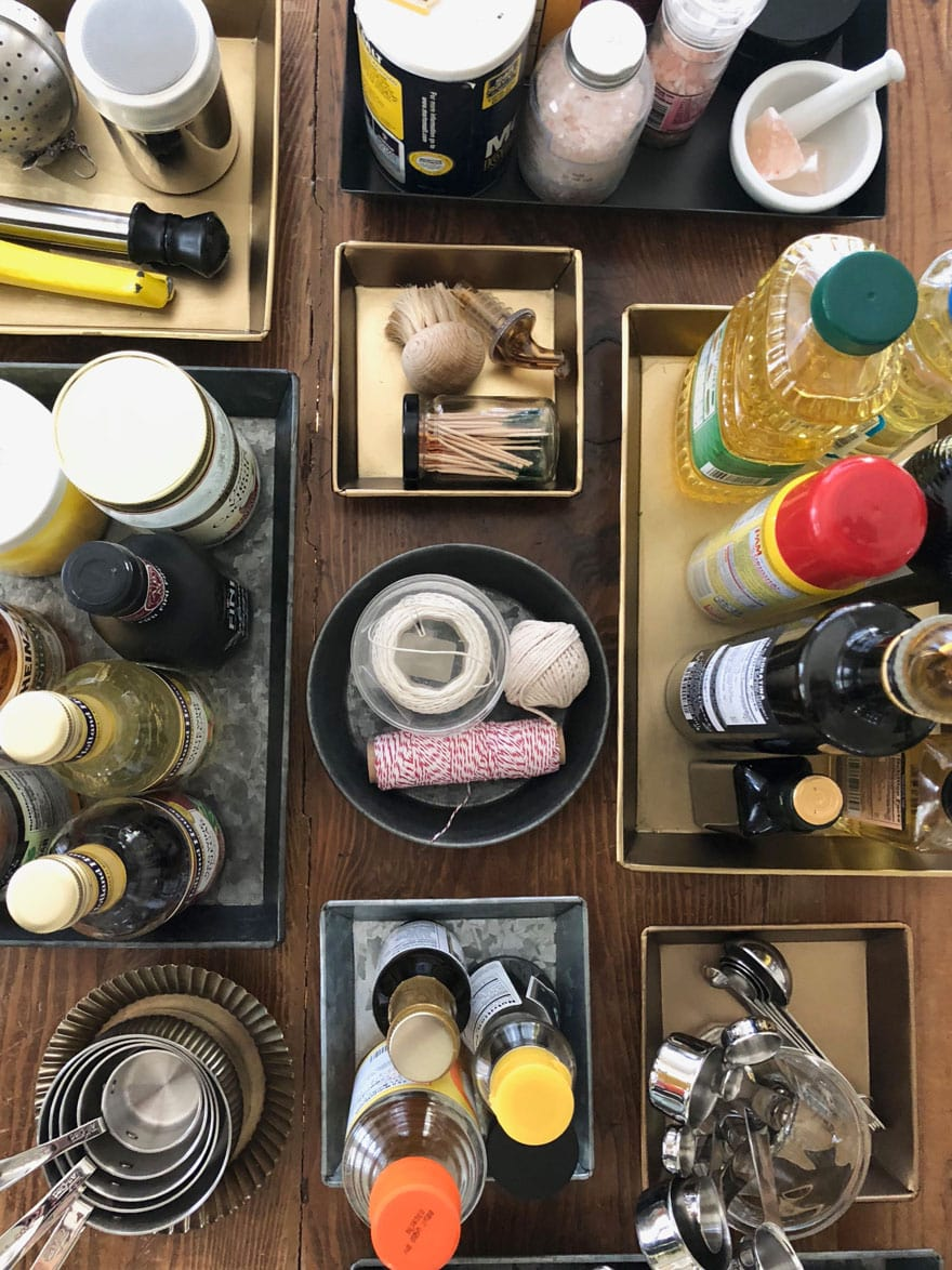 kitchen items arranged in trays